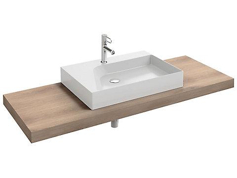 Plan de toilette stratifié 140 cm avec 1 découpe centrée pour vasque à poser