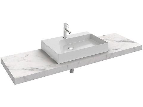 Plan de toilette stratifié 160 cm avec 1 découpe centrée pour vasque à poser