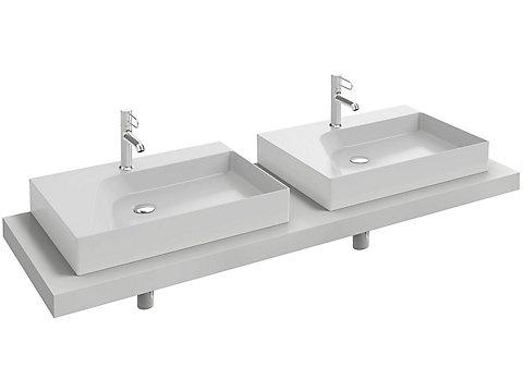 Plan de toilette stratifié 160 cm avec 2 découpes pour vasque à poser