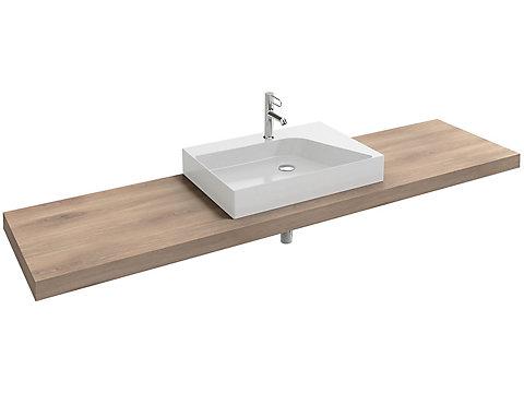 Plan de toilette stratifié 200 cm avec 1 découpe centrée pour vasque à poser