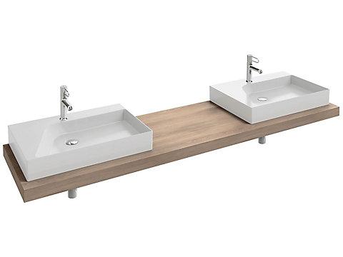 Plan de toilette stratifié 200 cm avec 2 découpes pour vasque à poser