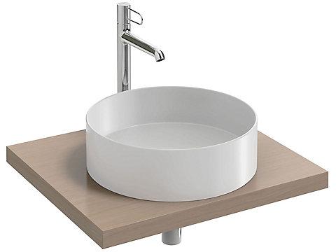 Plan de toilette Bois 60 cm avec 1 découpe centrée pour vasque à poser