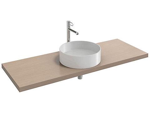 Plan de toilette 140 cm, 1 découpe, bois massif