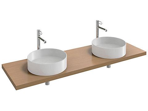Plan de toilette Bois 160 cm avec 2 découpes pour vasque à poser