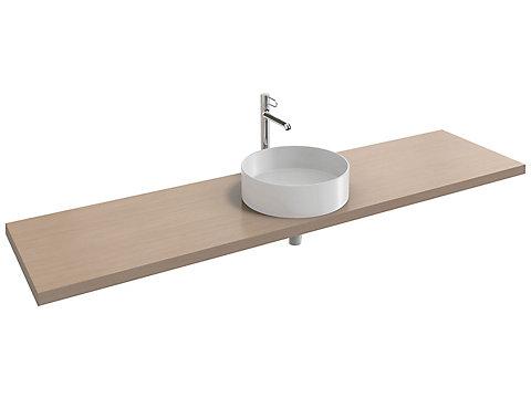Plan de toilette 200 cm, 1 découpe, bois massif