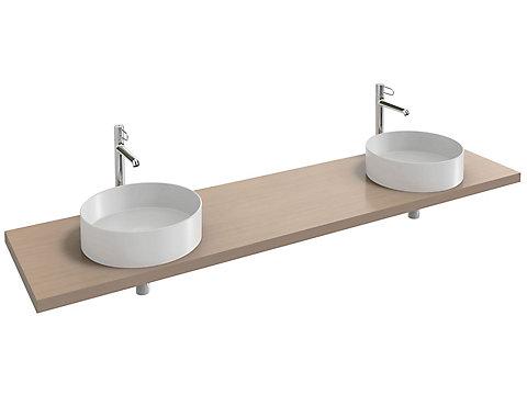 Plan de toilette 200 cm, 2 découpes, bois massif
