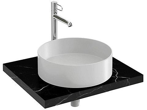 Plan de toilette CaroCeram 60 cm avec 1 découpe centrée pour vasque à poser