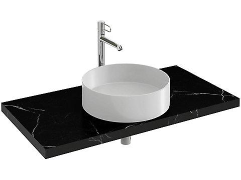 Plan de toilette 100 cm, 1 découpe, CaroCeram
