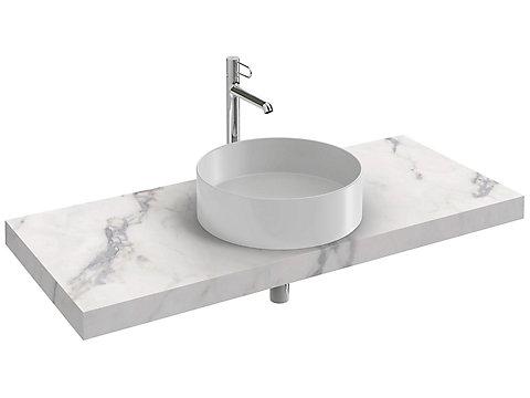 Plan de toilette 120 cm, 1 découpe, CaroCeram