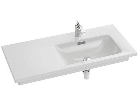 Plan-vasque céramique, 101 cm droite, non meulé