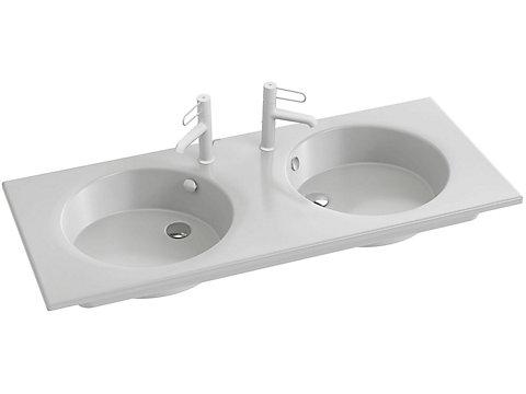 Plan-vasque céramique, 120 cm, meulé