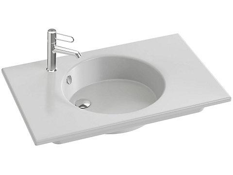 Plan-vasque céramique, 80 cm, meulé