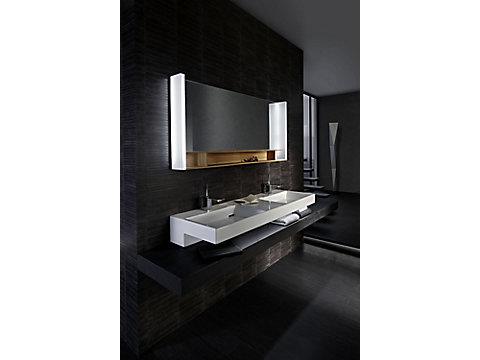 Plan-vasque double 150 cm avec bandeau LED