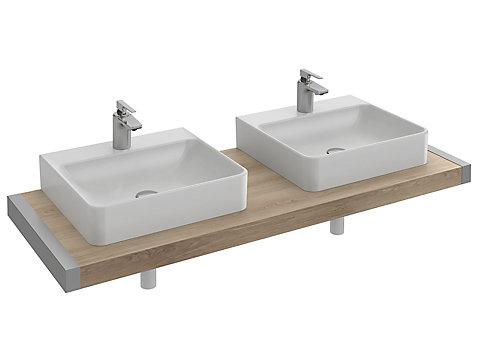 Plan de toilette 140 cm avec 2 découpes pour vasque à poser