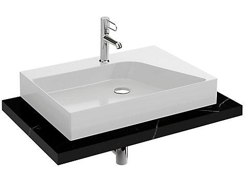 Plan de toilette CaroCeram 80 cm avec 1 découpe centrée pour vasque à poser