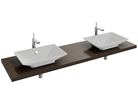 Plan de toilette 160 cm, 2 découpes, bois massif