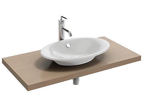 Plan de toilette 100 cm, 1 découpe, bois massif
