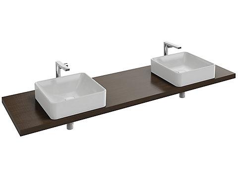 Plan de toilette Bois 180 cm avec 2 découpes pour vasque à poser