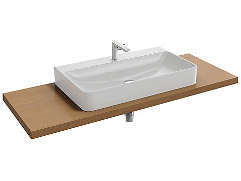 Plan de toilette Bois 140 cm avec 1 découpe centrée pour vasque à poser