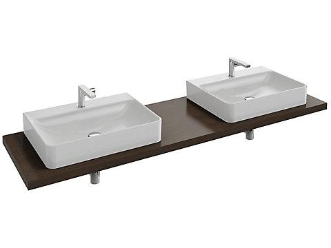 Plan de toilette 180 cm, 2 découpes, bois massif