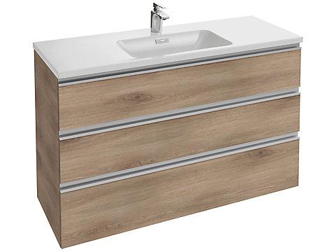 Meuble sous plan-vasque 120 cm 3 tiroirs, poignée intégrée