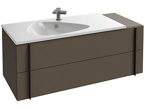 Meuble sous plan-vasque 120 cm, 2 tiroirs + plateau latéral