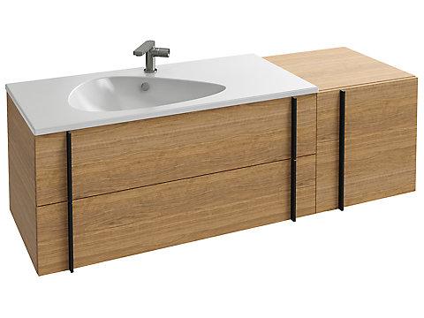 Meuble sous plan-vasque 145 cm, tiroirs + plateau latéral