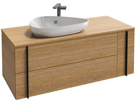 Meuble sous vasque 120 cm, 2 tiroirs + 1 tiroir rack
