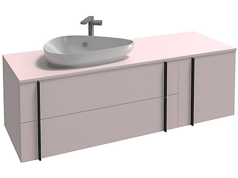 Meuble sous vasque 145 cm, 2 tiroirs + 1 tiroir rack