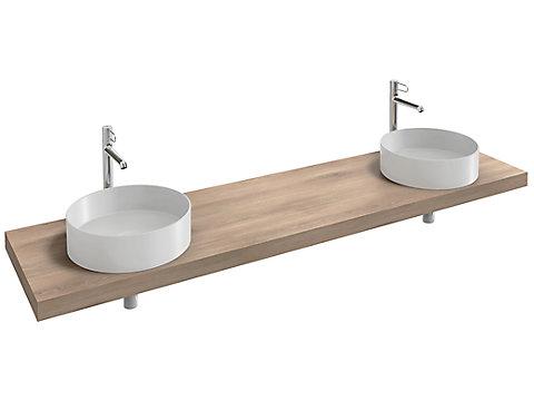 Plan de toilette 200 cm, 2 découpes, stratifié