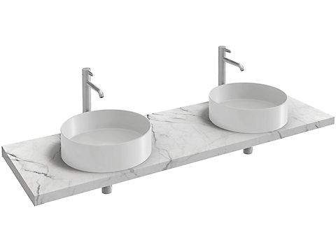 Plan de toilette 160 cm, 2 découpes, CaroCeram