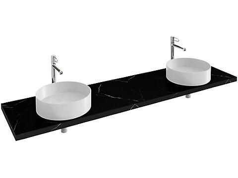 Plan de toilette 200 cm, 2 découpes, CaroCeram