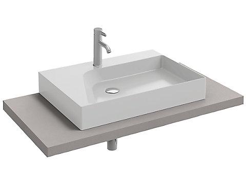 Plan de toilette CaroCeram 100 cm avec 1 découpe centrée pour vasque à poser