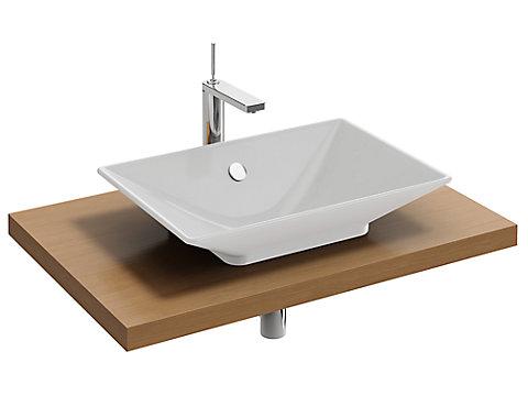 Plan de toilette Bois 80 cm avec 1 découpe centrée pour vasque à poser
