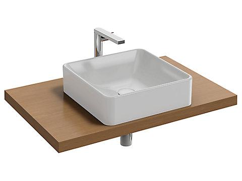 Plan de toilette 80 cm, 1 découpe, bois massif