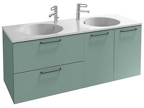 Meuble sous plan-vasque 140 cm, 2 tiroirs/2 portes