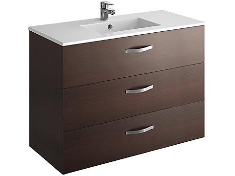 Pack meuble 3 tiroirs + plan-vasque 100 cm