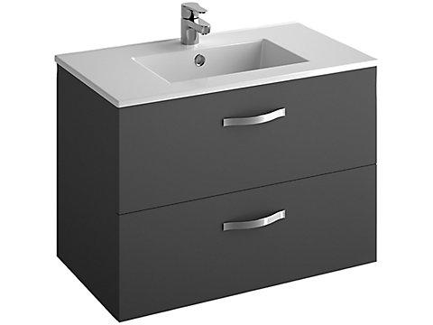 Pack meuble 2 tiroirs + plan-vasque 80 cm