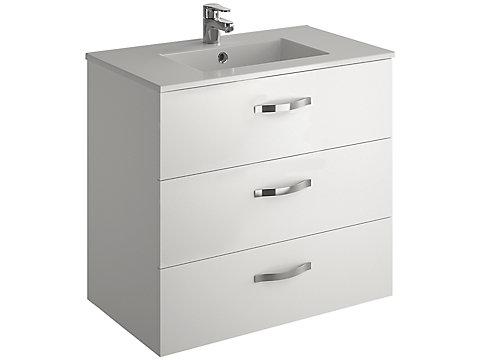 Pack meuble 3 tiroirs + plan-vasque 80 cm