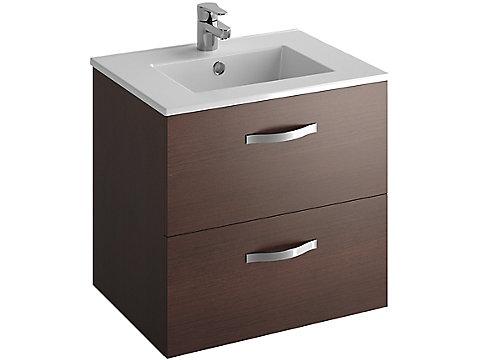 Pack meuble 2 tiroirs + plan-vasque 60 cm