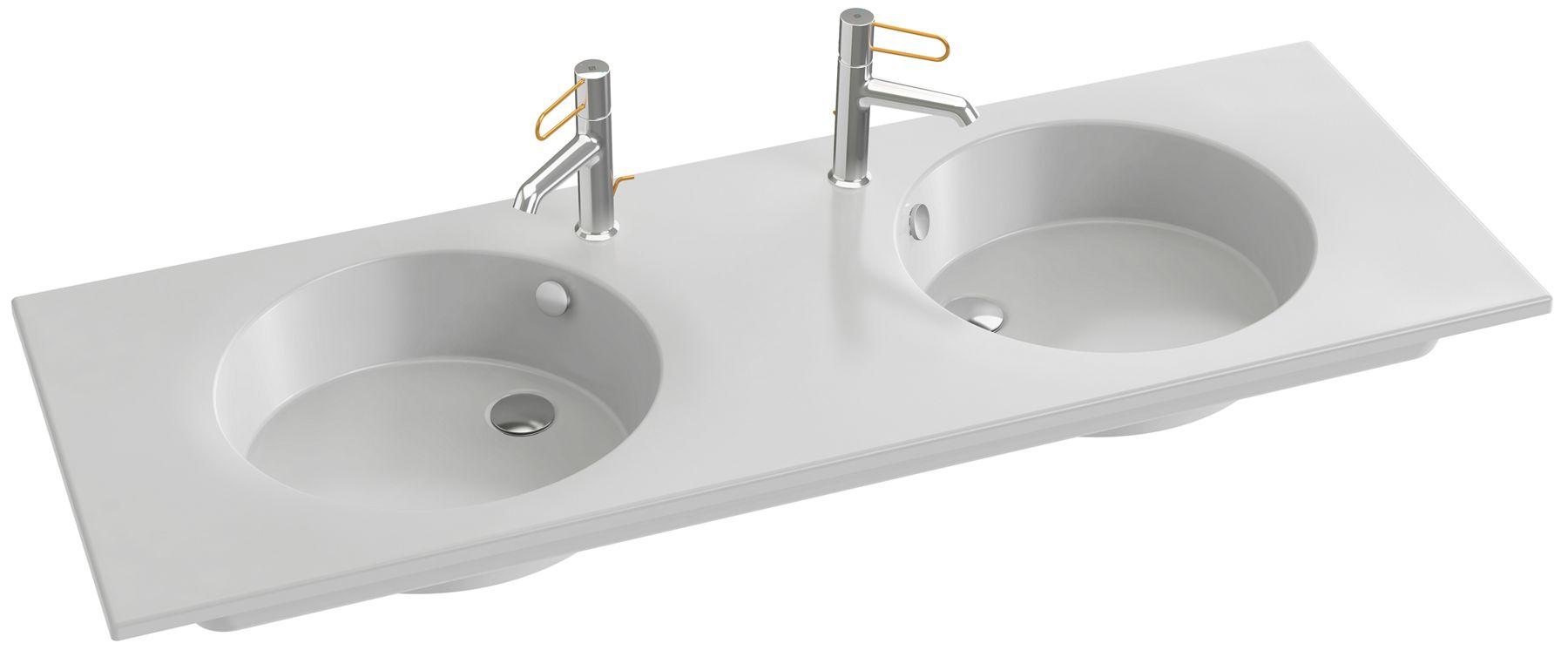 Double plan-vasque céramique, 140 cm, meulé