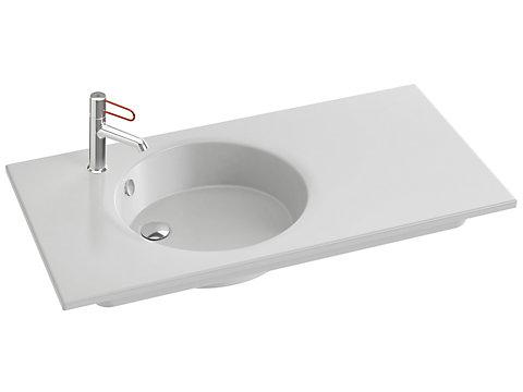 Plan-vasque céramique, 100 cm, meulé