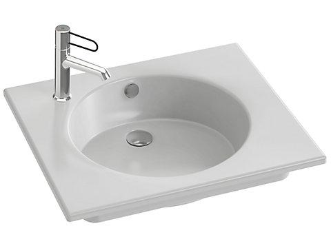Plan-vasque céramique, 60 cm, meulé