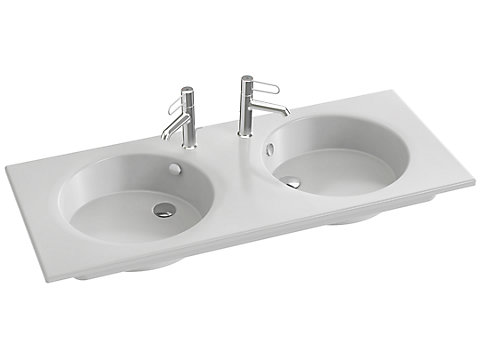 Double plan-vasque céramique, 120 cm, meulé