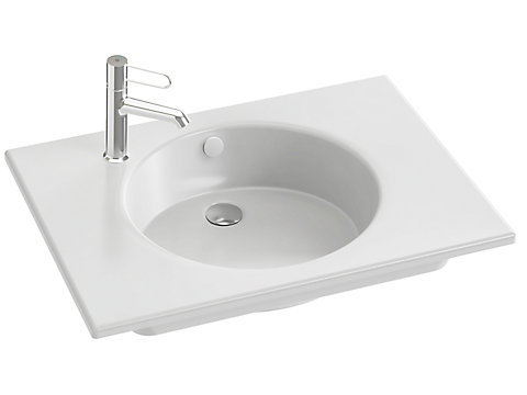 Plan-vasque céramique 70 cm, meulé