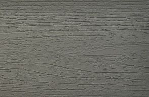 Muster von Trex Enhance Terrassendielen aus Verbundmaterial in Clam Shell/Grau