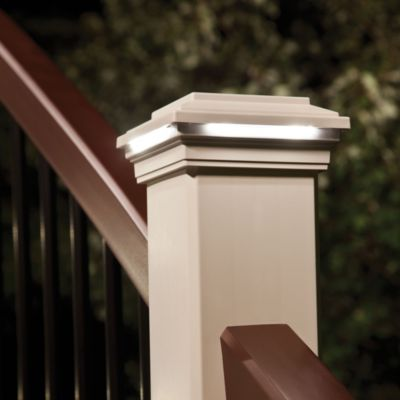 deck lighting classic white post cap light solar lights 6x6 lowes led