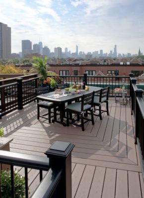 Trex Metro Collection featuring Enhance composite decking in Beach Dune brown
