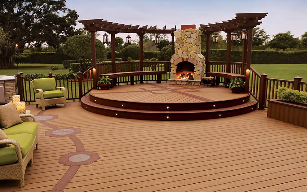 Custom Trex Deck with Pergola & Fireplace