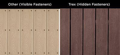 Trex deck board with Hideaway Universal Deck Fastener versus visible fasteners.